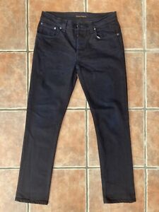 Nudie Jeans Grim Tim Black Ring Slim Tapered 34W 32L
