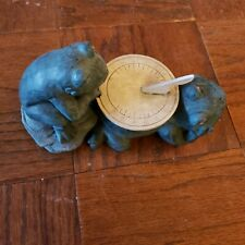 Frog Sundial Metal Toad Glaze over Bisque Garden Yard Art Cute Leap frog Vintage