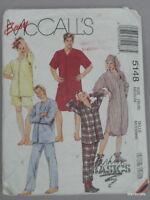 McCalls 5148 Teen Sleep Wear PJs Pajama Shirt size M 36-38 Unisex Sewing Pattern