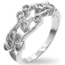Silver Anniversary Ring Size 10 Band Plated Cubic Zirconia Eternity USA Seller
