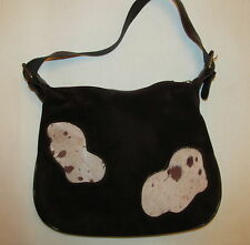 vtg Made In Italy brown suede / cowhide patches Country Western Rockabilly bag
