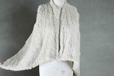NEW COLOR ARRIVAL! 100% RABBIT FUR SWING VEST CREAM Free Size Free P&P