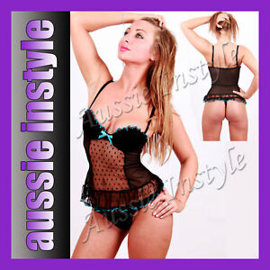 Aussie Seller Sexy Hot Lingerie Padded Bra Babydoll +G-String Size S-M/ 8 10 12