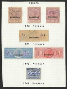 Selection of Used Zanzibar Revenues on Album Page ex. Old-Time Collection