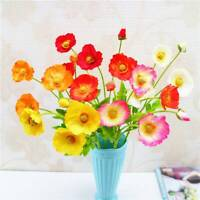 1 Bouquet 4 Heads Artificial Poppy Silk Flowers Bunch Home Wedding Party Decors