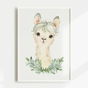 Nursery Print, Baby, Boys, Girls, Animals, Alpaca Wall Art, Jungle, Safari