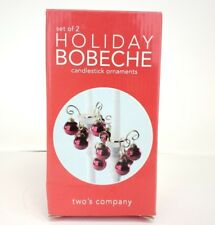 Two's Company Candlestick Ornaments Set of 2 Holiday Bobeche Red