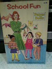 School Fun Paper Dolls - 1990 - Checkerboard Press - UNCUT! With a bonus book