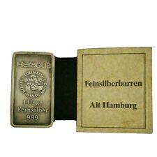 1 Unze Feinsilber 999 Barren Alt Hamburg