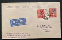 1929 Valletta Malta First flight Airmail cover FFC To Delhi India Via Karachi