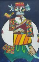 Original 1968 Signed JOVAN OBICAN (1918-1986) Judaica Art Painting on Canvas