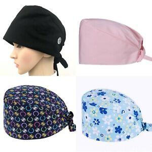 Unisex Surgical Scrub Cap Hat with Buttons Women Men Hospital Doctor Nurses USA