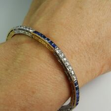 Art Deco Kashmir Blue Sapphire Old European Cut Diamond Bangle Bracelet 1920s
