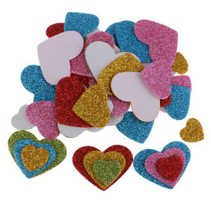 50pcs Heart Shape Self Adhesive Foam Glitter Stickers for Kids Crafts