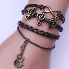 Infinity Guitar Music Friendship Antique Copper Leather Charm Bracelet 2017