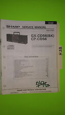Sharp gx-cd56 cp service manual original repair book stereo tape player boombox