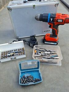 Black and decker cordless drill 18v with drill bits, axminster driver bit set