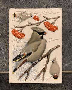Vintage Jie Gantofta Sweden Ceramic, Wall Plaque Tile Handmade Wild Birds RARE
