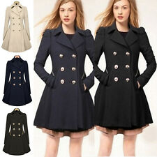 Womens Double Breasted Trench Coat Jacket Slim Lapel Winter Peacoat Dress AU