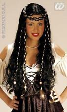 Señoras de largo Negro peluca Con Trenzas Hippy Hippy Egipcia Cleopatra Vestido De Lujo