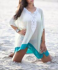 Mint Green w Aqua Embroidered Beach Kaftan Resortwear Cover Up Dress S M 8 10 12