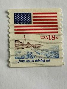 VINTAGE STAMP💎1981 💎18 cent Flag over Seacoast #1891 Perf 11💎