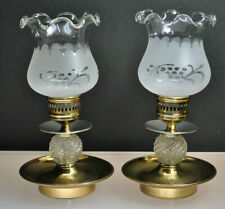 Vintage (Pair) Brass & Glass Hurricane Style Candle Stick Holders