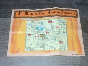 Final Fantasy Adventure Map / Item List Nintendo Game Boy Authentic