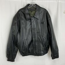 CAT Caterpiller Leather Bomber Jacket Size M Excellent