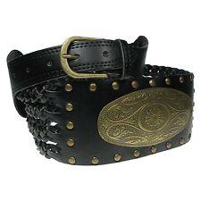 Womens Dress Waist Belt Fashion Studded Weaved Design With Gold Plate wm17