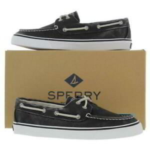 Sperry Womens Ladies Bahama Black Canvas Lace Up Boat Deck Shoes Size UK 3-8.5
