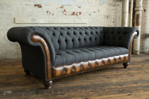 MODERN CHARCOAL GREY WOOL & ANTIQUE TAN LEATHER 3 SEATER CHESTERFIELD SOFA COUCH