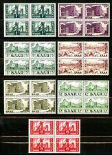 Saar 1952 Buildings Issues 7 Diff MNH Blocks of 4 Scott's 232 233 236-239 & 242