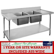 Commercial Stainless Steel Double Sink 304 Grade Bench With Door Coffee Cafe
