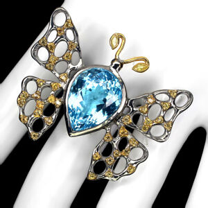 Handmade Natural 22 Ct Sky Blue Topaz Sapphire 925 Silver Butterfly Ring Size 8
