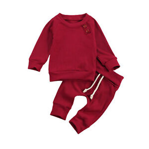 Infant Baby Sleepwear Outfits Long Sleeve T-Shirt+Pants Pajamas Knit Clothes Set