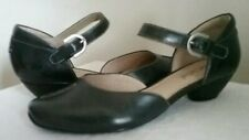 Josef Seibel Tinadress 38 Black 91217 Dress Pumps Low Heels Buckle Ankle Strap
