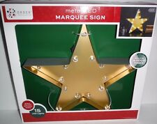 """New 13.5"""" Lighted Metal Marquee Gold Star Sign Rustic Country Bar Decor"""