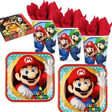 Super Mario Bros 16x Teller Becher Servietten Kindergeburtstag Mottoparty Luigi