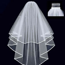 Sweet Women Beautiful 2t Ivory White Wedding Bridal Veil  comb Tulle Stain Hot