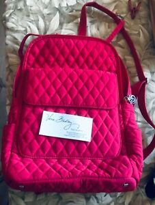 NWT Vera Bradley QUILTED RED Signature Cotton Backpack Medium size