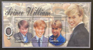 GAMBIA PRINCE WILLIAM STAMPS SHEET 3V 2003 MNH WILLIAM'S 21ST BIRTHDAY ROYALTY