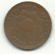 A VERY NICE BETTER GRADE 1944 PERU 2 CENTAVOS COIN- NOV583