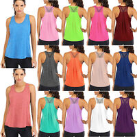 Women Mesh Backless Loose Fit Racerback Workout Running Tank Tops Yoga Shirts