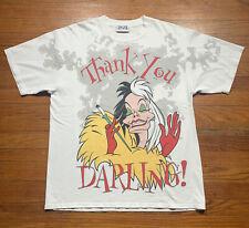 Vtg 90s Cruella de Vil 101 Dalmatians T-Shirt All Over Disney Villains Size XL