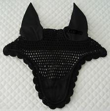 Top Notch Horse Bonnet, Fly Veil, Coolmax Ears, Cord Accent (Full Size) blk/blk