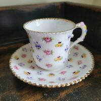 """Royal Stafford Pansy """"Forget Me Not"""" Royal Stafford Tea cup and Saucer Set"""