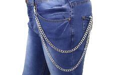 Men Silver Metal Wallet Key Chains Biker Chunky Links Jeans Side Strands Trucker
