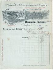 Facture - BRETEL Fréres - Spécialité de Beurres Supérieur - Valognes 1910