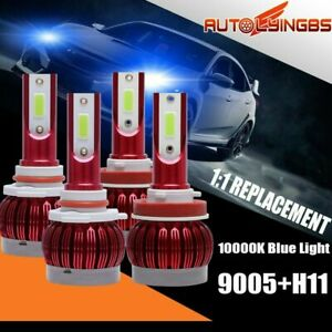 4PCS 9005+H11 LED Headlight Bulbs 10000K Blue Hi Lo Beam Front Light 40000LM Set